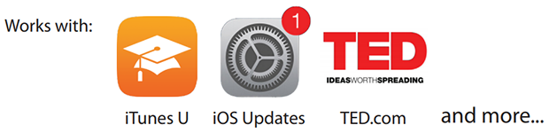 Work with iTunes U, iOS Updates, TED.com and more
